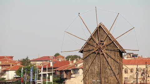 old wooden windmill Nessebar Bulgaria