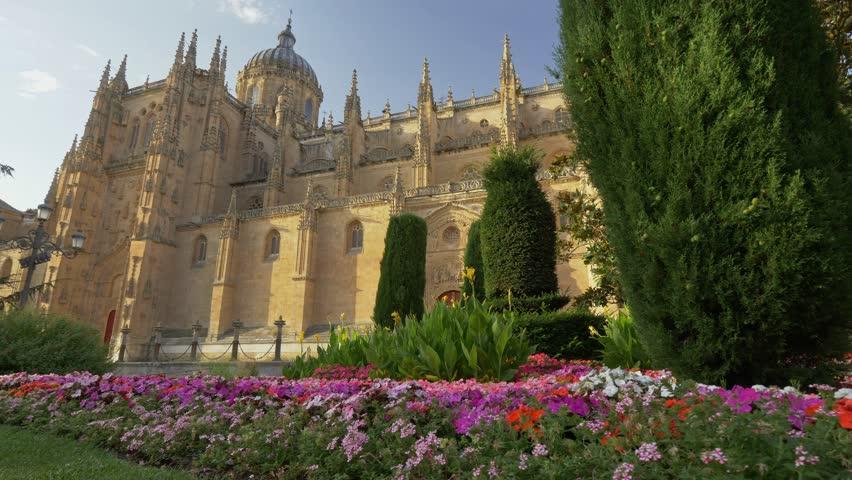 Salamanca, Spain. Gimbal shot of New Cathedral Catedral Nueva of Salamanca. 4K, UHD