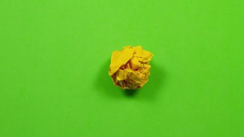 stop motion animation paper wrinkles making a paper ball, with luma matte / alpha channel