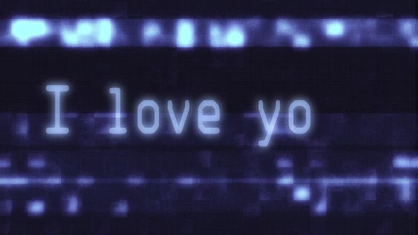 hand typing i love you words writing on glitch old blue led lcd tube computer display screen close up pixel animation background new quality retro vintage futuristic wording typography video loop