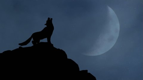A wolf howling in silhouette.