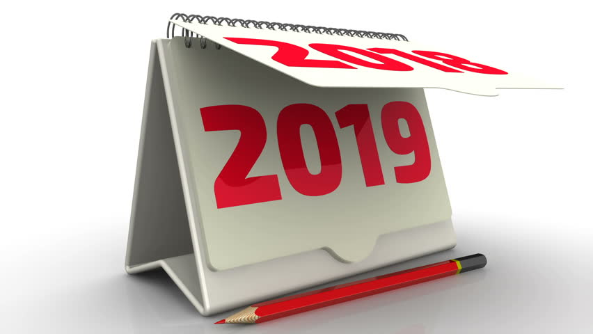 New 2019 on the calendar. The desktop calendar with the inscription 2018 changes to 2019. Footage video