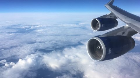 Jet engines on 747 aircraft flying over the Atlantic ocean. 30th August  2018. for editorial use only .
