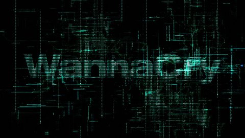 Digital background Cyber Crime Hacker WannaCry ransomware worldwide cyberattack which targeted computers running old operating system by encrypting data and demanding ransom payments