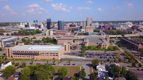 Aerial view of an urban setting in downtown Grand Rapids.