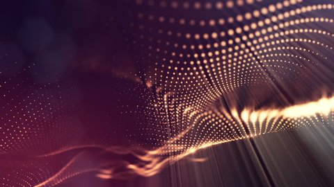 Dark composition with oscillating luminous golden red particles that form wavy surface. Smooth animation looped. Abstract background of glowing particles with shining bokeh sparkles. science fiction 3