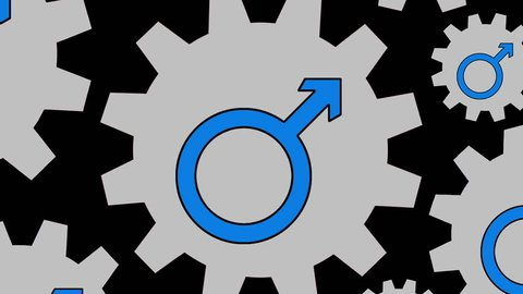 Male symbol gears spinning background zooming out