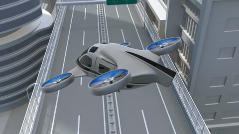 Metallic gray Passenger Drone Taxi landing on a rooftop helipad. 3D rendering animation.