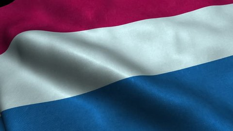Photorealistic 4k Close up of netherlands flag slow waving with visible wrinkles and realistic fabric. 15 seconds 4K, Ultra HD resolution netherlands flag animation.