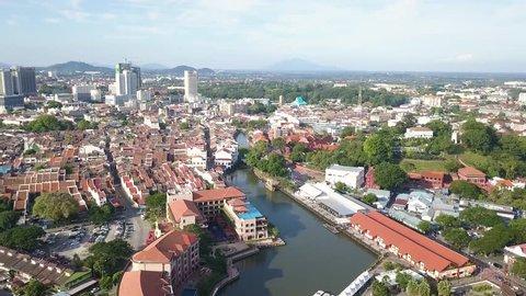Aerial shot of main tourist area,Malacca City,Malaysia