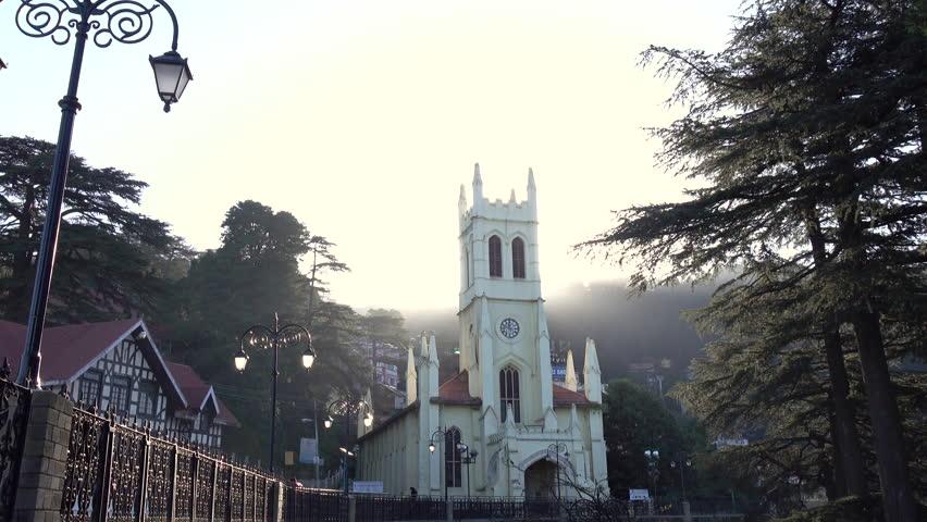 Christ Church Shooting Hd: Christ Church Shimla Stock Video Footage