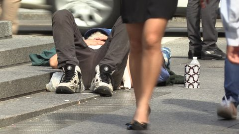 Toronto, Ontario, Canada September 2018 Desperate homeless people on streets of wealthy Toronto business district