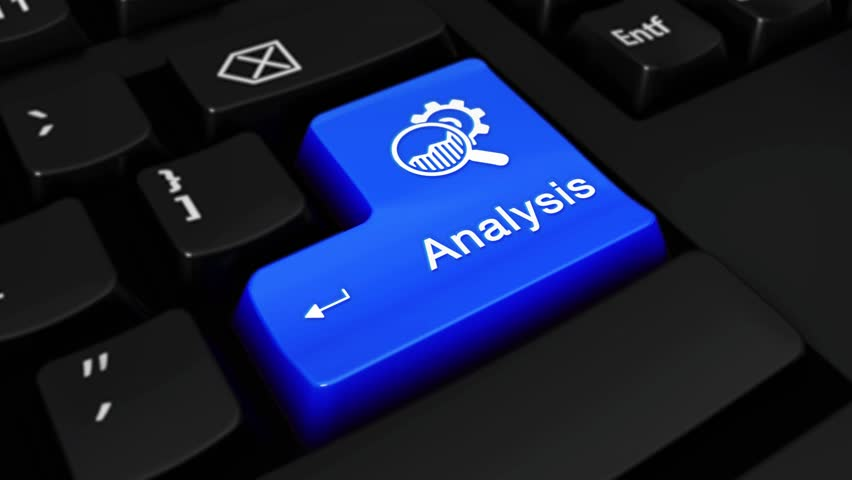 Analysis Round Motion On Blue Enter Button On Modern Computer Keyboard with Text and icon Labeled. Selected Focus Key is Pressing Animation. Marketing Strategy Concept