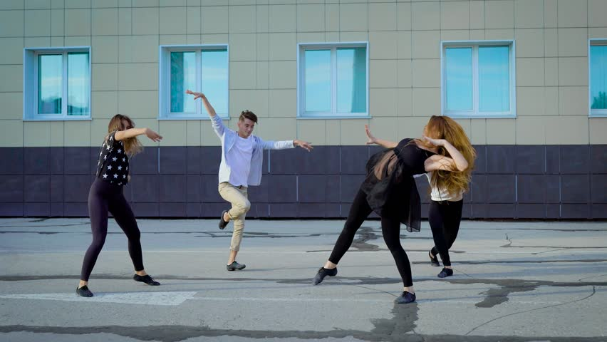 c2ee9995599 Group of Contemporary Dancers Freestyling Stock Footage Video ...