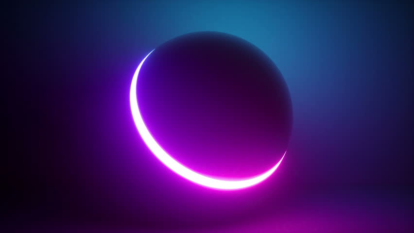 3d rendering, glowing neon light sphere, laser show, blank space, disco ball, esoteric energy, abstract background, looped animation, ultraviolet spectrum #1016619484