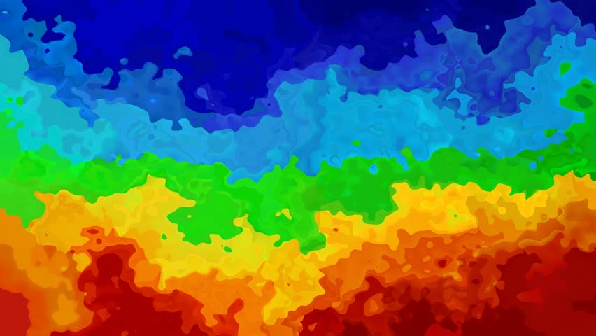 abstract animated stained background seamless loop video - watercolor splotch effect - vibrant horizontal  rainbow full color spectrum - magenta, pink, red, orange, yellow, green and blue