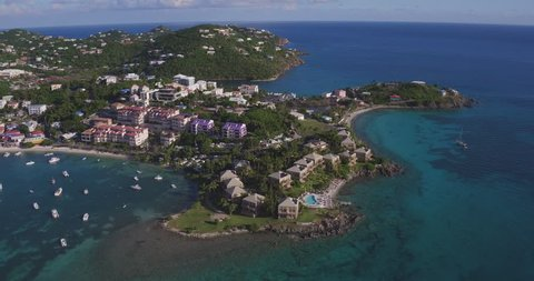 aerial video of cruz bay and Gallow's point, st john, one year after hurricane Irma