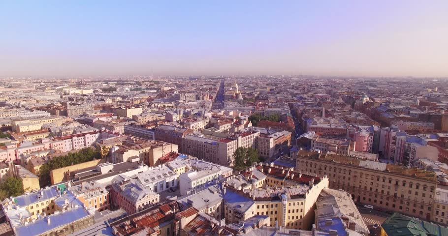 Aerial view. Saint-Petersburg old city center in sunny weather | Shutterstock HD Video #1016632084