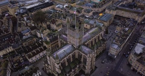 Bath Abbey and historic Roman baths, orbit shot 180 degrees around