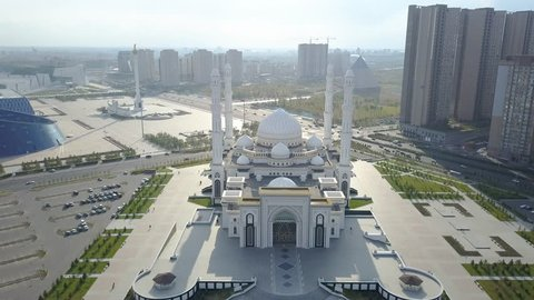Astana, Kazakhstan aerial view of mosque in city center, sunny weather, summer.