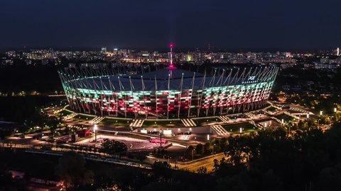 Aerial View of Warsaw, Stadium PGE, Narodowy, Warszawa, Poland, Polska