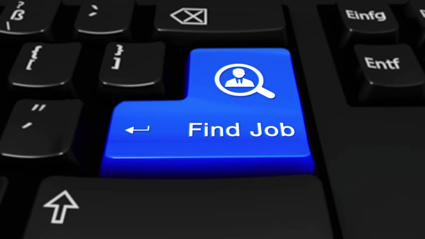 376. Find Job Round Motion On Blue Enter Button On Modern Computer Keyboard with Text and icon Labeled. Selected Focus Key is Pressing Animation. Business Management Concept