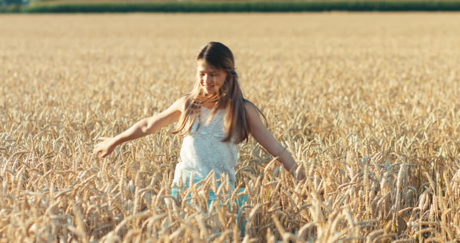 Teenage girl spinning and walking in the wheat field and smiling at camera | Shutterstock HD Video #1016712634