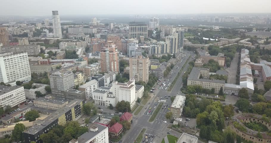 Aerial view. Drone footage of traffic city roads. Urban city Kievpecherski district 4k 4096 x 2160 pixels | Shutterstock HD Video #1016722144
