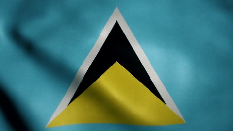 Flag of Saint Lucia, slow motion waving. Looping animation. Ideal for sport events, led screen, international competitions, motion graphics etc
