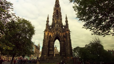 Hyperlapse of Scott Monument in Edinburgh, Scotland