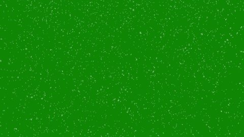 Realistic Snow Falling in Front of Green Screen. Winter Creative Background