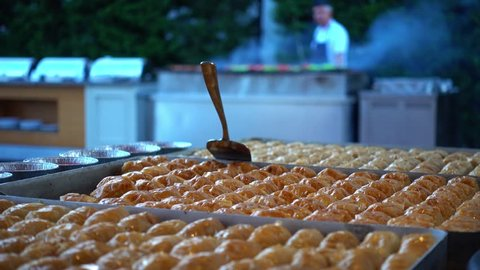 Baklava. Restaurant buffet outdoors.