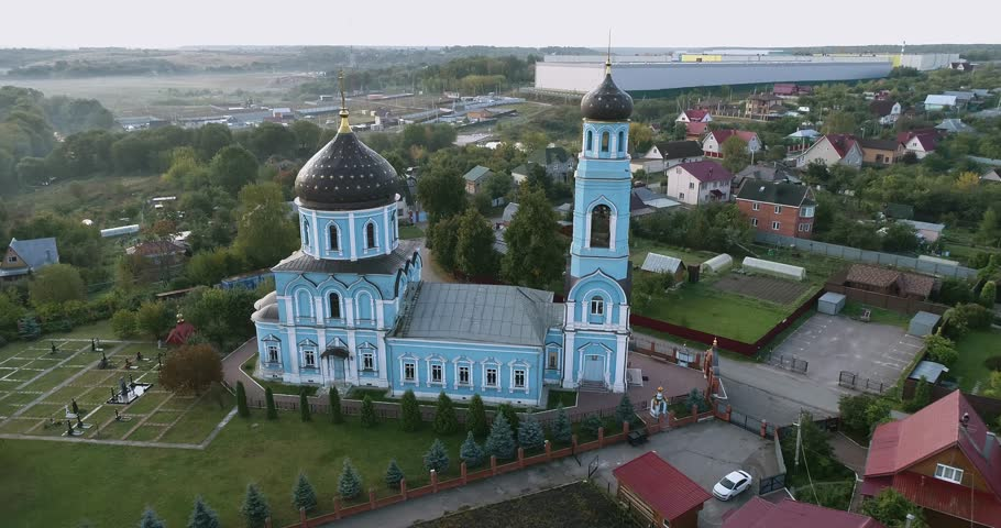 Beautiful aerial 4k drone video of The Church Of The Intercession Of The Blessed Virgin Mary in Pokrov, Podolsk region, Russia
