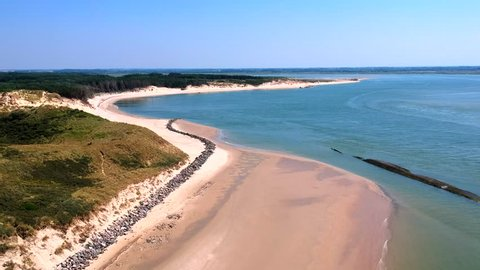 Drone footage of the dunes, beach and sea of Berck-Plage, France.
