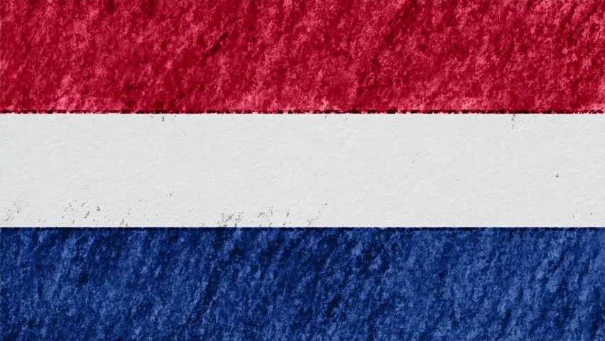 stop motion pastel chalk crayon drawn Netherlands flag cartoon animation seamless loop background new quality national patriotic colorful symbol video footage