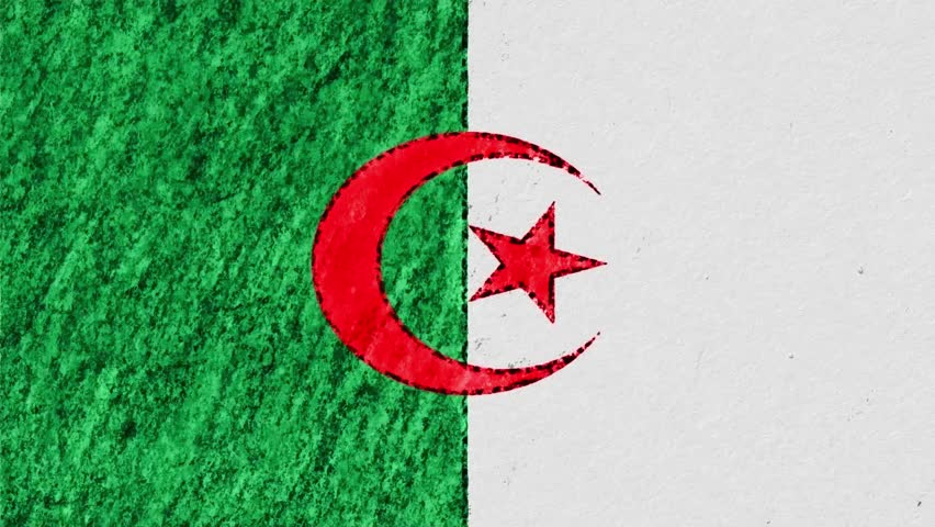 stop motion pastel chalk crayon drawn Algeria flag cartoon animation seamless loop background new quality national patriotic colorful symbol video footage