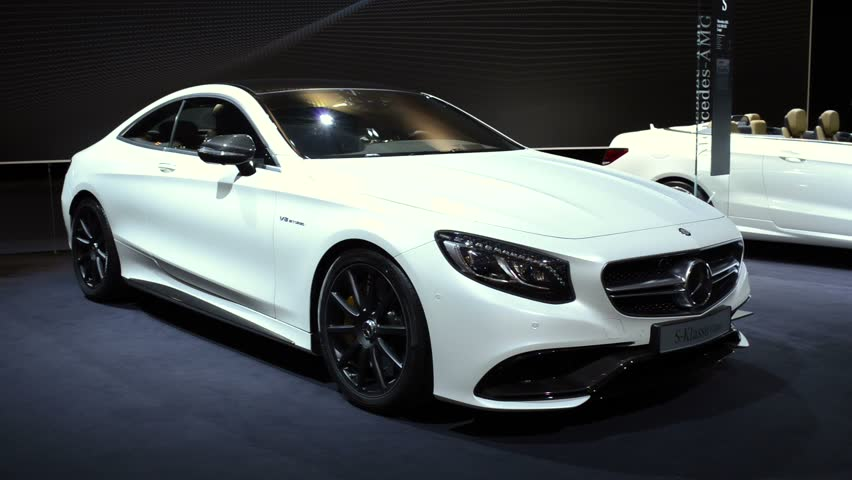 Amsterdam The Netherlands April 16 2017 White Mercedes Benz S Cl Coupe Luxury Two Door Front View Car Is On Display During