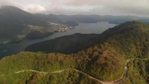 Aerial view of lake Ashi and winding road, Hakone, Kanagawa, Japan