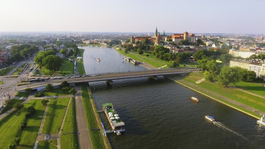 Krakow, Poland. Wawel royal Castle and Cathedral, Vistula River. Aerial