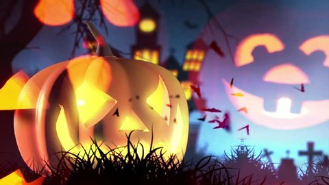 Halloween background with pumpkin and bats