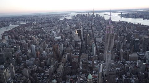 New York City Circa-2015, aerial view of Manhattan Skyline at dusk facing south from Midtown
