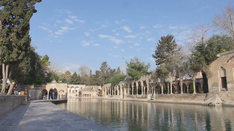 SanliUrfa Turkey, Pool of Sacred fish also known as the pool of Abraham. Camera panning from left to right while a local man walking aside.
