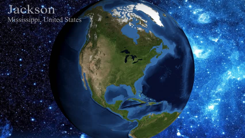zoom in from space and focus on Mississippi  Jackson  USA