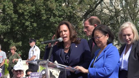 """WASHINGTON, DC - SEPT 28, 2018: Sen. Kamala Harris """"We are strong, we will fight!"""" rally at Supreme Court against Bret Kavanaugh nomination for associate justice. Sens. Blumenthal, Hirono, Gillibrand."""