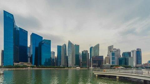 SINGAPORE, CIRCA JULY 2018: Rainy Morning at Marina bay quay. Prores 4K, Hyperlapse