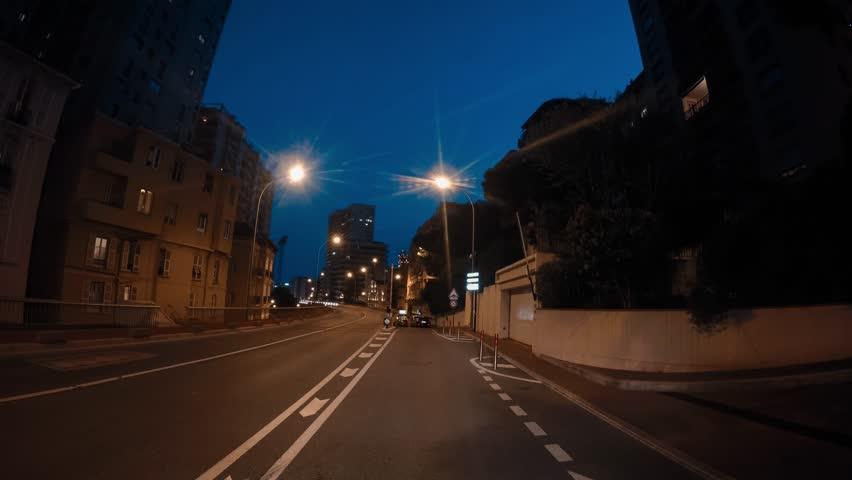 Monaco Monte Carlo tunnels city street road hyperlapse hyper lapse night evening blue hour driving moving driving street | Shutterstock HD Video #1017124864