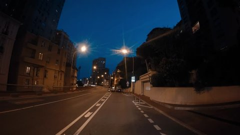 Monaco Monte Carlo tunnels city street road hyperlapse hyper lapse night evening blue hour driving moving driving street