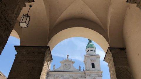 Walking towards the Salzburg Cathedral in Salzburg, Austria