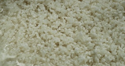 Rice filled with water up to surface