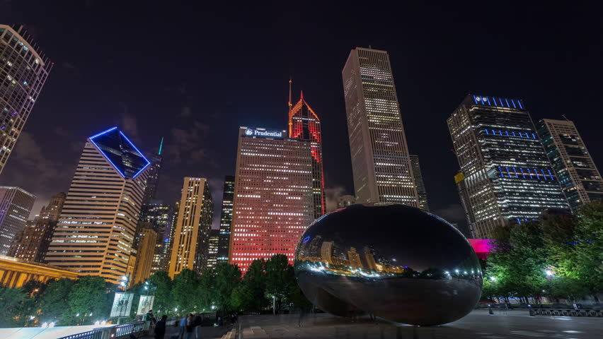"Chicago, Illinois, USA - September 17th 2018 - Chicago Cloud Gate ""The Bean"" and City Skyline Night Timelapse"